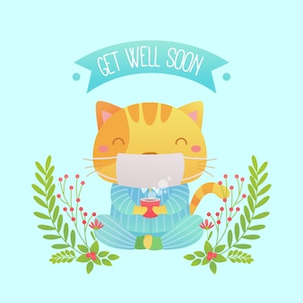 Get well soon message with cute cat