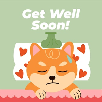 Get well soon message with cute character illustrated