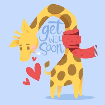 Get well soon message with cute character