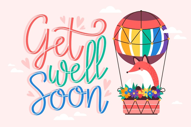 Get well soon message with cute illustration of air balloon