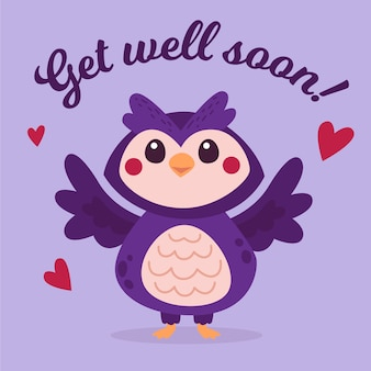 Get well soon message with cute owl