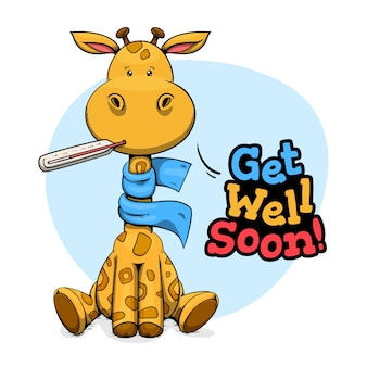 Get well soon message with giraffe