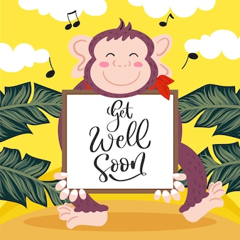 Get well soon message with illustrated cute monkey