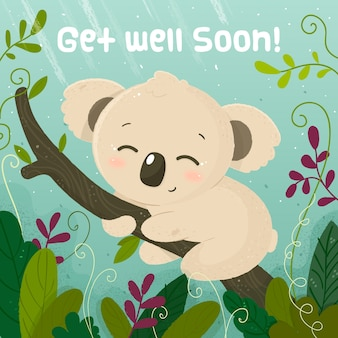 Get well soon message with koala