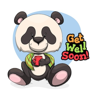Get well soon message with panda