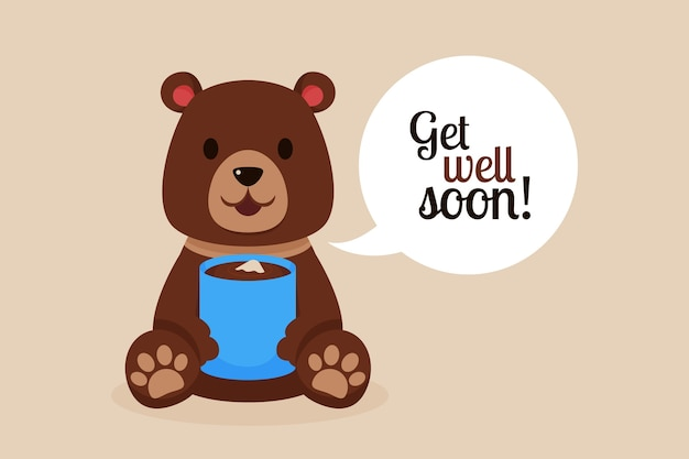 Get well soon quote and bear with hot chocolate