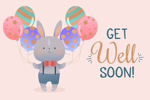 Get well soon quote and bunny with balloons