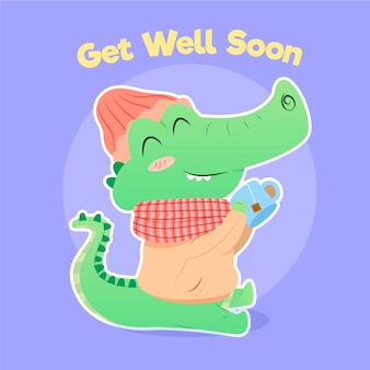 Get well soon quote and cute alligator