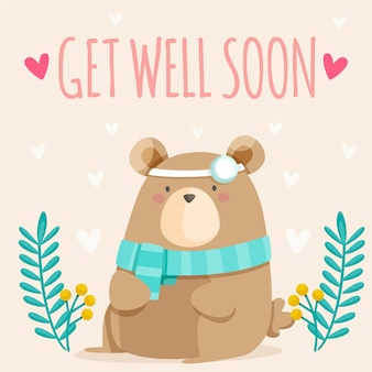 Get well soon quote and cute bear