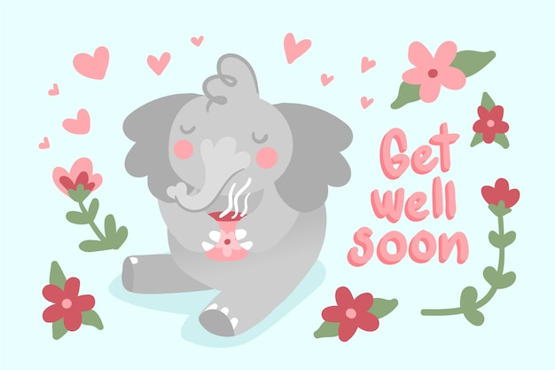Get well soon quote and elephant