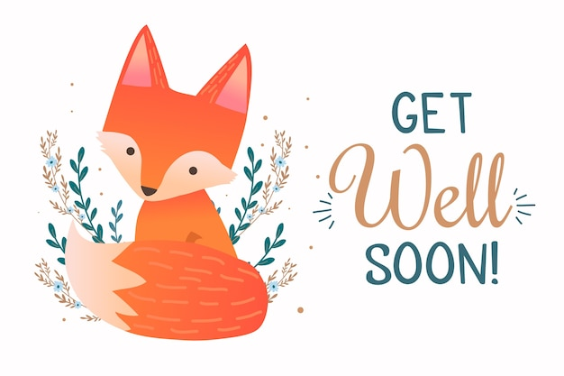 Get well soon quote and forest fox