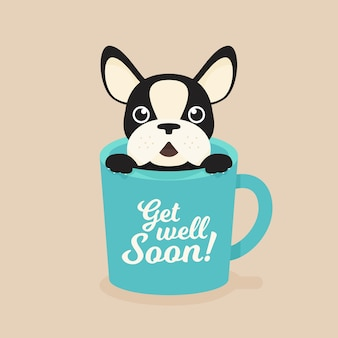 Get well soon quote and french bulldog