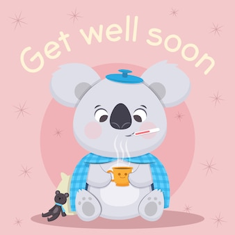 Get well soon quote and koala