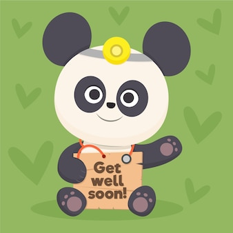 Get well soon quote and panda bear