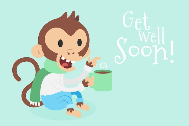 Get well soon quote and smiley monkey