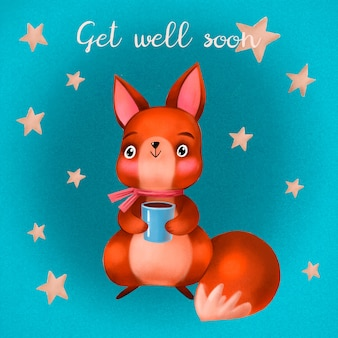 Get well soon quote and squirrel