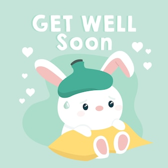 Get well soon and white bunny