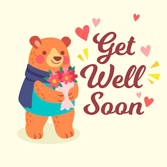Get well soon with bear and flower
