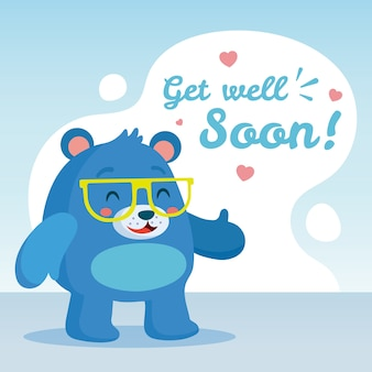 Get well soon with bear giving thumbs up