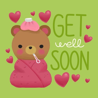Get well soon with bear and hearts