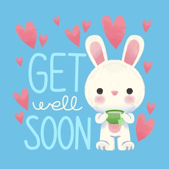 Get well soon with bunny and hearts