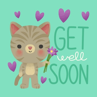Get well soon with cat holding flowers