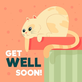Get well soon with cat