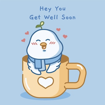Get well soon with cute bird