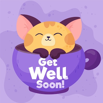 Get well soon with a cute cat