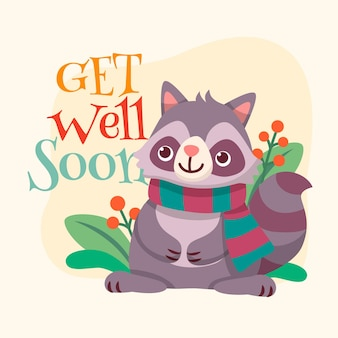 Get well soon with cute character concept