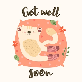 Get well soon with cute character