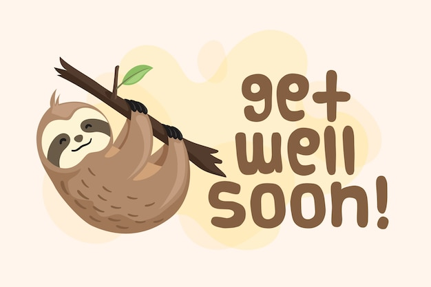 Get well soon with a cute character
