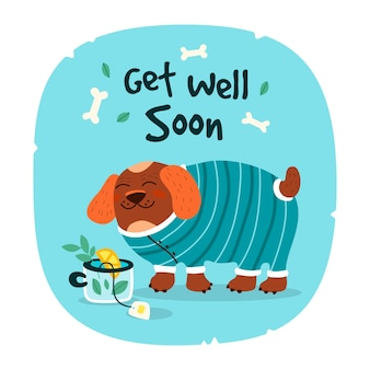 Get well soon with cute dog
