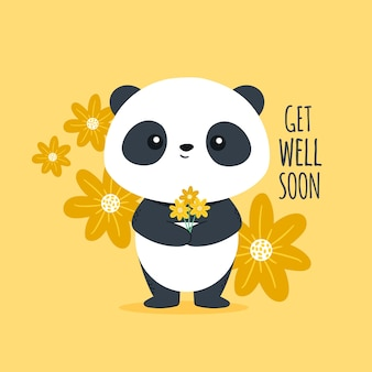 Get well soon with cute panda bear