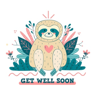 Get well soon with cute sloth