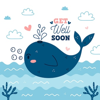 Get well soon with cute whale