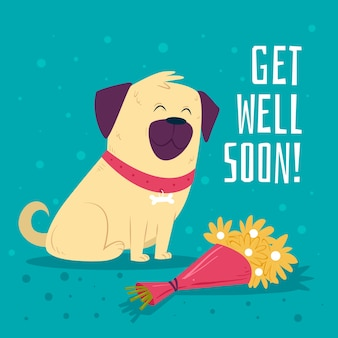 Get well soon with dog and flowers