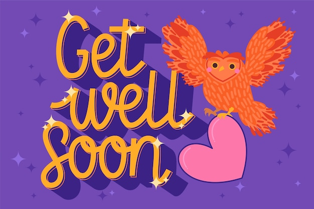 Get well soon with illustration of owls