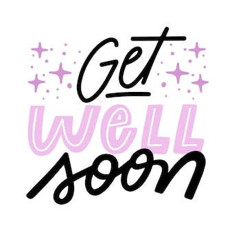Get well soon with sparkles lettering