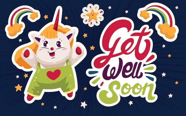 Get well soon with unicorn