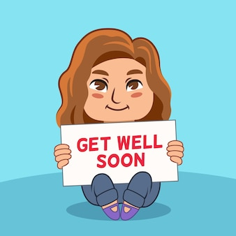 Get well soon and woman with brown hair