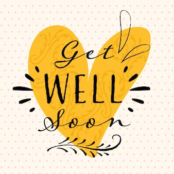 Get well soon yellow heart lettering