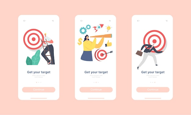 Get your target mobile app page onboard screen template. tiny characters trying to reach huge aim. business goal achievement, challenge and task solution concept. cartoon people vector illustration