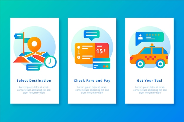 Get your taxi mobile app screens