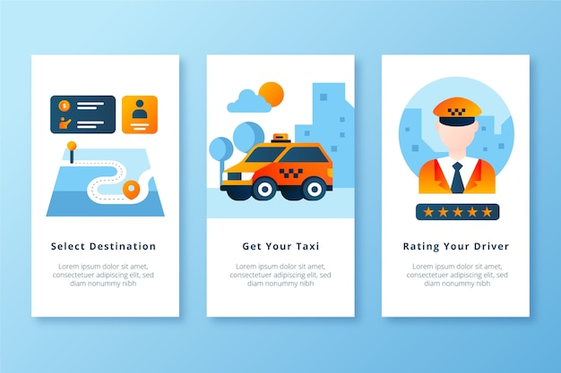 Get your taxi and rate the driver mobile app screens