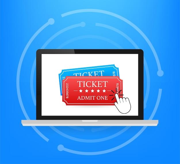オンラインでチケットを入手してください。映画館の映画のチケットのオンライン注文のコンセプト。ベクトルイラスト。
