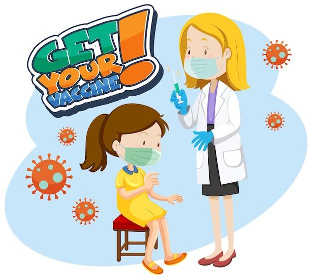 소녀와 함께 백신 글꼴 배너를 받으십시오. covid-19 백신 주사를 맞으세요.