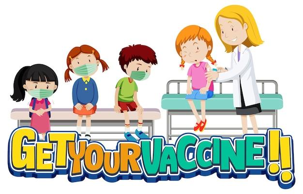Covid-19 백신을 받기 위해 대기열에 있는 많은 아이들이 있는 vaccine 글꼴 배너를 받으십시오.