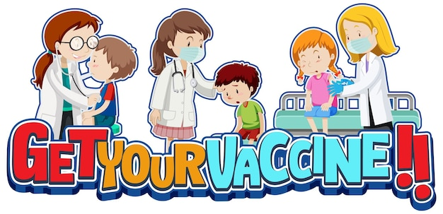 환자 아이들과 의사 만화 캐릭터가 있는 백신 글꼴 배너 받기