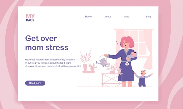 Getting over mom stress and postpartum depression landing page template